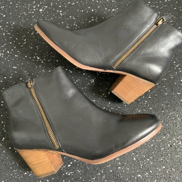 Crown Vintage Black Leather Ankle Boots - Size 8